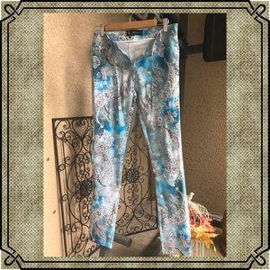 Stretch Paisley  pants blue grey white Size S